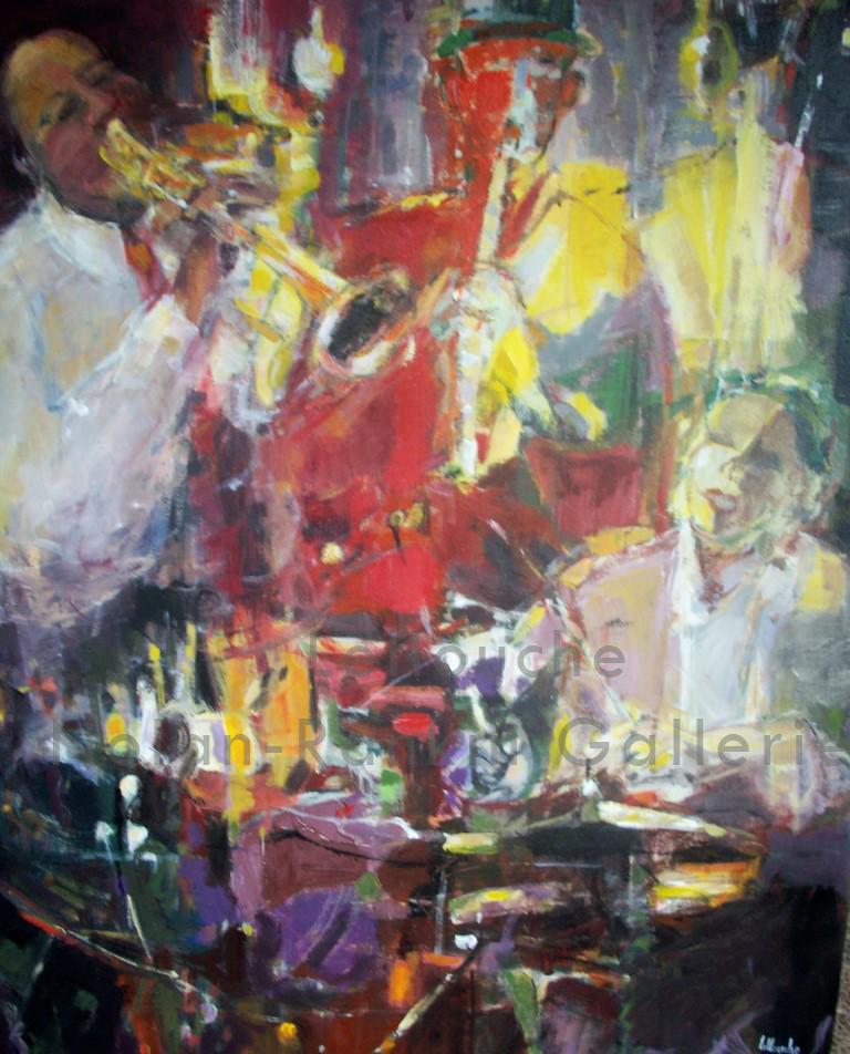 Jazz | NR4065A | 80 Figure: 57 in. x 44 in. |Michele Lellouche | Oil on Canvas | Nolan-Rankin Galleries - Houston