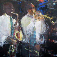 Les Jazzmen | NR5019| 25 Figure: 31.75 x 25.5 in. | Michele Lellouche | Oil on Canvas | Nolan-Rankin Galleries - Houston