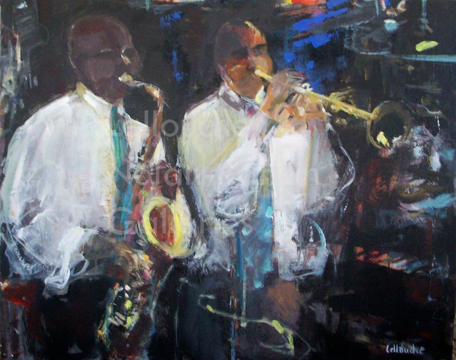 Les Jazzmen | NR5019| 25 Figure: 31.75 x 25.5 in. | Michele Lellouche | Oil on Canvas | Nolan-Rankin Galleries - Houston