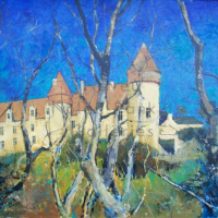 Chateau de Culan | NR4010 | 30 Figure (36 x 29 inches) | Pierre Neveu | Oil on Canvas | Nolan-Rankin Galleries - Houston