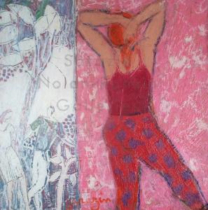 Sarazin NR4048 Fabienne en rouge 30 cm x 30 cm 12 x 12 inches | Nolan-Rankin Galleries