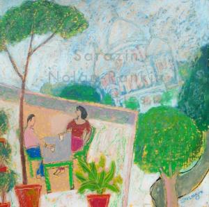 Sarazin NR4063 La grande terrasse 50 cm x 50 cm 20 x 20 inches | Nolan-Rankin Galleries - Houston