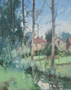 Trois Fontaines NR3937 10 Figure: 21.625 x 18.125in. Jose Salvaggio Oil on Canvas