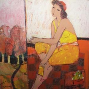 NR3608 La Carthaginoise 70cm x 70cm: 27.5 x 27.5 in. Sarazin Oil Pastel on Board | Nolan-Rankin Galleries - Houston