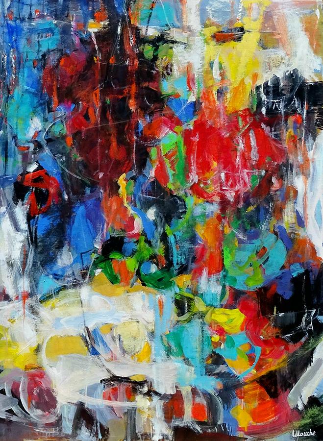 Nuit de la fête | NR5229 | 60 Figure: 51.25 x 38.25 in. | Michèle Lellouche Inner Fire | Nolan-Rankin Galleries - Houston