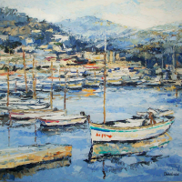 NR5466 Barques de grece 40 Figure: 39.375 x 31.875 inches Renée THÉOBALD Nolan-Rankin Galleries - Houston