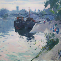 Peniches au Pont des Arts | Paul Jean Anderbouhr | Nolan-Rankin Galleries - Houston