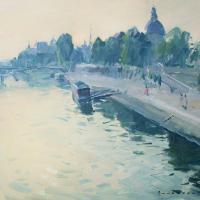Matin au bord de la Seine -a Paris   Paul Jean Anderbouhr   Nolan-Rankin Galleries - Houston