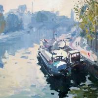 Matin rose vers le Pont Neuf   Paul Jean Anderbouhr   Nolan-Rankin Galleries - Houston