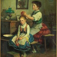 Lajos Markos (1917-1993) Mother and Daughter