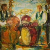 "JAZZ NR1412 80 Figure: 57.5"" x 44.75"" Conchita Conigliano Oil on Canvas 