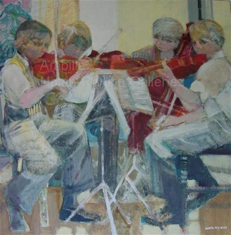 """La Repetition NR2613 120cm x 120cm: 47.25"""" x 47.25"""" Paul Ambille Oil on Canvas   Nolan-Rankin Galleries - Houston"""