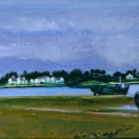 "La Barque Couchee | NR2879 | 40cm x 20cm: 15.75"" x 7.75"" | Nicole Rousseau-Grolee | Oil on Canvas | Nolan-Rankin Galleries - Houston"