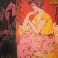 "Josette NR2893 70cm x 70cm: 27.5"" x 27.5"" Michel Sarazin Oil Pastel"