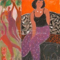 "Joyce NR3032 70cm x 70cm: 27.5"" x 27.5"" Michel Sarazin Oil Pastel"