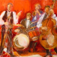 "Jazz rouge NR3232A 15 Figure: 25.5"" x 21.25"" Conchita Conigliano Oil on Canvas 