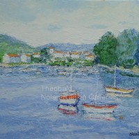NR3414 Petit port 15 Figure: 29.5 x 21.25 in. Renee Theobald Oil on Canvas (palette knife) | Nolan-Rankin Galleries - Houston