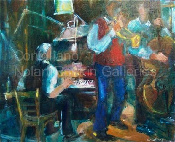 "New Orleans Jazz NR3488 25 Figure: 31.75"" x 25.5"" Conchita Conigliano Oil on Canvas 