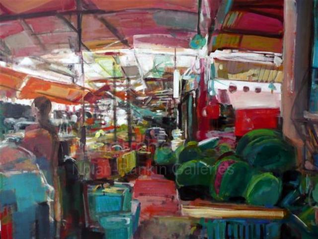 "Pasteques   NR3566   30 Figure: 36.25"" x 28.75""   Michele Lellouche   Oil on Canvas   Nolan-Rankin Galleries - Houston"