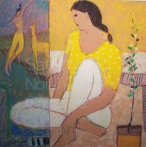"Lama NR3607 70cm x 70cm: 27.5"" x 27.5"" Michel Sarazin Oil Pastel"