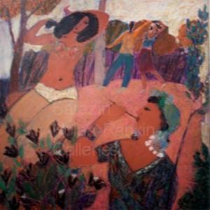 """Soir aux Marquises NR3611 70cm x 70cm: 27.5"""" x 27.5"""" Michel Sarazin Oil Pastel"""