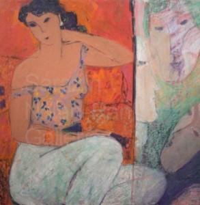 """Les Masques NR3613 50cm x 50cm: 19.75"""" x 19.75"""" Michel Sarazin Oil Pastel"""