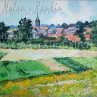 Champs en Alsace NR3862 12 Figure: 24 in. x 19.6875 in. Renee Theobald Oil on Canvas: Palette Knife