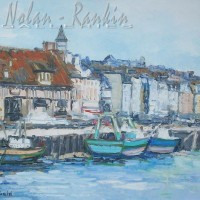 Renee Theobald NR0270 Bateaux de peche a Trouville 30 Figure Oil on Canvas | Nolan-Rankin Galleries - Houston